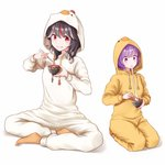2017 2girls alternate_costume black_hair chick_costume chicken_costume commentary_request directional_arrow dtvisu eating food hood hoodie horns indian_style kijin_seija mochi multicolored_hair multiple_girls new_year purple_eyes purple_hair red_hair short_hair sitting smile streaked_hair sukuna_shinmyoumaru touhou wagashi wariza white_hair year_of_the_rooster zouni_soup
