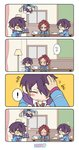 ! 2boys 4koma blazer blue_neckwear blush_stickers can chalkboard cleaning cleaning_brush closed_eyes comic curtains diamond-shaped_pupils ensemble_stars! flower_(symbol) flying_sweatdrops green_eyes hair_over_one_eye happy highres hood hoodie indoors isara_mao jacket lamp looking_at_another male_focus multicolored_hair multiple_boys musical_note necktie open_clothes open_jacket paper paper_stack petting pink_hair red_bull school_uniform sengoku_shinobu smile spoken_exclamation_mark streaked_hair symbol-shaped_pupils teleport translated tray yellow_eyes yumenosaki_school_uniform