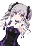 1girl black_ribbon blush choker collarbone cross_choker drill_hair eyebrows_visible_through_hair grey_hair hair_ribbon idolmaster idolmaster_cinderella_girls kanzaki_ranko lolita_fashion long_hair looking_at_viewer outstretched_arm outstretched_hand puffy_short_sleeves puffy_sleeves purple_ribbon red_eyes ribbon short_sleeves simple_background smile solo tenmaso twin_drills twintails upper_body white_background