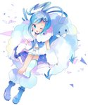 1girl ;d altaria asymmetrical_legwear bad_id bad_pixiv_id bangs blue_eyes blue_footwear blue_hair blush earrings eyebrows_visible_through_hair from_above fur-trimmed_boots fur_trim gen_3_pokemon hair_ornament hairclip highres jewelry long_hair looking_at_viewer looking_up lucia_(pokemon) one_eye_closed open_mouth pokemon pokemon_(creature) pokemon_(game) pokemon_oras shirt short_shorts shorts sidelocks single_thighhigh sitting smile striped striped_legwear thighhighs tsukiyo_(skymint) very_long_hair white_background white_shirt white_shorts