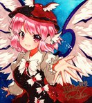 1girl :d animal_ears blue_background bow bowtie brown_dress brown_hat dress earrings frilled_sleeves frills hat jewelry looking_at_viewer mystia_lorelei open_mouth outstretched_hand pink_eyes pink_hair qqqrinkappp shikishi short_hair signature single_earring smile solo touhou traditional_media white_wings winged_hat wings
