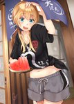 1girl :d alternate_costume belly_peek black_shirt blonde_hair blue_eyes casual clothes_writing commentary_request eyebrows_visible_through_hair food fruit grey_shorts hair_between_eyes holding kantai_collection long_hair midriff narushima_kanna navel open_mouth prinz_eugen_(kantai_collection) shirt short_sleeves shorts signature smile solo tied_shirt twintails watermelon
