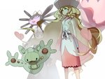1girl arms_at_sides artist_name blonde_hair blue_eyes cattleya_(pokemon) closed_eyes dated dress ege_(597100016) elite_four from_below gen_5_pokemon gothitelle gym_leader hat legs_apart long_hair long_sleeves looking_at_viewer musharna pokemon pokemon_(creature) pokemon_(game) pokemon_bw pokemon_special reuniclus sash see-through standing very_long_hair wavy_hair white_background