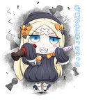 1girl abigail_williams_(fate/grand_order) bangs black_bow black_dress black_footwear black_hat blonde_hair bloomers blue_eyes bottle bow bug butterfly chibi coke_bottle cola crossed_bandaids dress fate/grand_order fate_(series) grin hair_bow hat highres holding holding_bottle insect keyhole long_hair long_sleeves neon-tetora orange_bow parted_bangs polka_dot polka_dot_bow sharp_teeth sleeves_past_fingers sleeves_past_wrists smile solo teeth translated underwear very_long_hair white_bloomers
