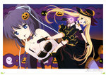 2girls absurdres black_boots black_dress black_hair black_hat black_nails blonde_hair blue_eyes blue_ribbon boots breasts cat choker cleavage collarbone dress finger_to_mouth floating_hair full_body hair_ribbon halloween_costume hat heterochromia high_ponytail highres holding konohana_lucia long_hair looking_at_viewer magical_girl medium_breasts multiple_girls nail_polish nakatsu_shizuru open_mouth outstretched_arm pumpkin rewrite ribbon short_dress sleeveless sleeveless_dress small_breasts smile strapless strapless_dress thigh_strap twintails very_long_hair witch_hat wrist_cuffs yano_akane yellow_eyes
