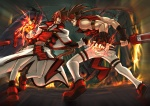 2boys battle brown_hair duel epic fire guilty_gear ippo male_focus multiple_boys order-sol sol_badguy thighhighs time_paradox tyrant_rave weapon