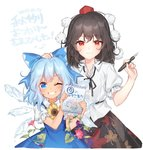 (9) 2girls black_hair black_ribbon black_skirt blue_bow blue_dress blue_eyes blue_hair blush bow cirno collared_shirt commentary dated dress flower fountain_pen frilled_sleeves frills grin hair_between_eyes hair_bow hajin hand_on_another's_head hat height_difference ice ice_wings leaf leaf_print looking_at_viewer morning_glory multiple_girls neck_ribbon one_eye_closed pen pom_pom_(clothes) puffy_short_sleeves puffy_sleeves purple_flower red_eyes red_flower red_hat ribbon shameimaru_aya shirt short_sleeves skirt smile sunflower tan tanned_cirno tokin_hat touhou white_background white_shirt wings