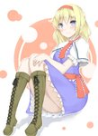 1girl alice_margatroid artist_request bare_legs blonde_hair blue_eyes boots cross-laced_footwear eyebrows_visible_through_hair headband highres knees_together_feet_apart lace-up_boots looking_at_viewer sitting touhou