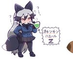 :q animal_ears bangs black_footwear black_gloves black_legwear black_neckwear black_skirt blue_jacket blush bow bowtie breasts closed_mouth commentary_request erlenmeyer_flask eyebrows_visible_through_hair ezo_red_fox_(kemono_friends) flask fox_ears fox_tail fur_trim gloves hair_between_eyes jacket kemono_friends large_breasts long_hair long_sleeves multicolored_hair necktie orange_eyes pantyhose pleated_skirt potion silver_fox_(kemono_friends) silver_hair simple_background skirt smile solo_focus standing tail tanaka_kusao tongue tongue_out translated very_long_hair white_background