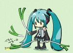 1girl afterimage aqua_hair chibi green_background hatsune_miku long_hair lowres oropi sad solo spring_onion thighhighs twintails very_long_hair vocaloid