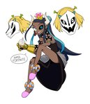 1girl absurdres antennae armlet avengers avengers:_infinity_war bare_shoulders black_dress black_sclera blonde_hair blue_eyes blue_hair bowsette bowsette_(cosplay) bracelet braid breasts bubble_tea commentary cosplay crown cup dark_skin diamond_(gemstone) dress drink drinking_straw earrings english_commentary english_text fidget_spinner fortnite french_braid gasterblaster gauntlets gym_leader hair_ornament hairclip happy heterochromia highres holding holding_poke_ball hoop_earrings horns infinity_gauntlet invisible_chair jewelry jpeg_artifacts leg_up long_hair looking_at_viewer mario_(series) marvel meme minecraft mismatched_earrings multicolored_hair new_super_mario_bros._u_deluxe open_mouth pink_footwear pink_headwear poke_ball poke_ball_(generic) pokemon pokemon_(game) pokemon_swsh princess_zelda princess_zelda_(cosplay) runningpigeon73 rurina_(pokemon) sans shiny shiny_hair short_hair shrek shrek_(series) simple_background single_gauntlet sitting skull slippers small_breasts smile solo_focus speech_bubble spiked_bracelet spikes strapless strapless_dress super_crown talking teeth the_legend_of_zelda the_legend_of_zelda:_breath_of_the_wild tied_hair too_many_memes two-tone_hair undertale very_long_hair white_background white_eyes
