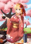 1girl absurdres apertio blush breasts cherry_blossoms fate_(series) flower food hair_flower hair_ornament highres huge_filesize japanese_clothes kimono large_breasts lunchbox nero_claudius_(fate) nero_claudius_(fate)_(all) sitting solo