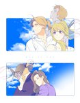 2girls 3boys ahoge alphonse_elric backlighting bangs bare_shoulders black_jacket blonde_hair blue_eyes blue_sky brothers brown_hair closed_eyes cloud cloudy_sky commentary_request couple day dress_shirt earrings edward_elric english_text expressionless eyebrows_visible_through_hair eyewear_removed father_and_son floating_hair fullmetal_alchemist glasses hands_on_own_face happy hetero hug hug_from_behind in_ventus jacket jewelry korean_commentary long_sleeves looking_away looking_up mother_and_son multiple_boys multiple_girls ponytail profile purple_shirt sad shirt siblings side_ponytail sky smile text_focus transparent_background trisha_elric upper_body van_hohenheim white_shirt winry_rockbell yellow_eyes