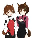 2girls absurdres alice_gear_aegis animal_ears black_pants brave_witches brown_eyes brown_hair cosplay cowboy_shot creator_connection crossover dog_ears dog_tail hair_ornament highres karibuchi_hikari lowlegist miyafuji_yoshika multicolored multicolored_clothes multiple_girls open_mouth pants pilot_suit side_slit simple_background smile squirrel_ears squirrel_tail strike_witches tail white_background world_witches_series