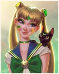 1girl 2018_fifa_world_cup alternate_color artist_name asian backlighting bangs bishoujo_senshi_sailor_moon black_cat blouse blue_eyes bow bowtie brazil cat choker closed_eyes commentary_request crescent crescent_earrings crescent_moon_choker double_bun earrings eyelashes facepaint forehead_jewel green_bow green_choker head_tilt impossible_earrings jewelry leandro_franci lips long_hair looking_to_the_side luna_(sailor_moon) magical_girl makeup mascara parted_bangs portugese_commentary realistic sailor_moon sailor_senshi_uniform school_uniform serafuku short_sleeves smile soccer solo tsukino_usagi upper_body very_long_hair white_blouse world_cup