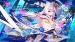 1girl aircraft airplane architecture azur_lane bangs black_gloves blue_eyes blue_flower cityscape closed_mouth commentary_request east_asian_architecture evening eyebrows_visible_through_hair flight_deck floating_hair flower fuji_choko gloves hair_flower hair_ornament holding holding_sword holding_weapon hood hood_down hooded_kimono japanese_clothes katana kimono long_hair looking_at_viewer mole official_art outdoors partly_fingerless_gloves petals pleated_skirt rigging shoukaku_(azur_lane) sidelocks skirt solo splashing sword tassel thighhighs tsurime unsheathed very_long_hair water weapon white_hair white_legwear wind