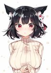1girl animal_ears azur_lane black_hair breasts cat_ears fox_mask large_breasts mask mask_on_head red_eyes ribbed_sweater short_hair sweater turtleneck turtleneck_sweater upper_body yamashiro_(azur_lane) yayoichi_(yoruyoru108)