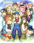 5girls 6+boys :d ;d adjusting_clothes adjusting_hat anger_vein animal ann_(harvest_moon) ayamix1020 bangle bird black_bow black_gloves black_hair black_wristband blonde_hair blue_eyes blue_hat blue_sky book bottle bow bracelet braid brooch brown_eyes brown_hair brown_sweater_vest chicken clenched_hand clenched_teeth cliff_(harvest_moon) crossed_arms dark_skin dark_skinned_male destiny_(harvest_moon) doctor_(harvest_moon) dog eighth_note elli_(harvest_moon) everyone facial_hair flower fur_trim glasses gloves goatee gray_(harvest_moon) green_eyes grey_eyes hair_flower hair_ornament hand_up harvest_moon harvest_moon:_back_to_nature hat head_mirror headband highres holding holding_animal holding_book holding_bottle jewelry kai_(harvest_moon) karen_(harvest_moon) labcoat long_braid long_sleeves looking_at_viewer maria_(harvest_moon) multicolored_hair multiple_boys multiple_girls musical_note one_eye_closed open_mouth orange_hair overalls pete_(harvest_moon) pointing popuri_(harvest_moon) puffy_long_sleeves puffy_sleeves purple_bandana purple_wristband red_eyes red_headband red_neckwear rick_(harvest_moon) sideburns sky smile standing sweater_vest teeth two-tone_hair vest wristband
