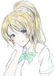1girl ayase_eli blonde_hair blue_eyes blush bow bowtie chin_rest dress_shirt frapowa green_bow high_ponytail love_live! love_live!_school_idol_project shirt sketch smile solo upper_body white_background