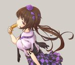 1girl arm_at_side arm_up bird_wings black_neckwear brown_hair cellphone checkered checkered_skirt feathered_wings flip_phone from_side grey_background hair_ribbon hat himekaidou_hatate holding holding_phone lavender_shirt light_smile looking_at_viewer looking_back necktie orange_eyes phone puffy_short_sleeves puffy_sleeves purple_headwear ribbon short_hair_with_long_locks short_sleeves simple_background skirt sleeve_cuffs solo standing tokin_hat touhou twintails upper_body wings yuuyake