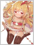 1girl animal_ears bandeau bangs bare_shoulders black_legwear blonde_hair blush border caburi commentary_request detached_sleeves eyebrows_visible_through_hair feathers granblue_fantasy grey_border hair_between_eyes hair_ornament harvin highres lifted_by_self long_hair looking_at_viewer makira_(granblue_fantasy) navel no_shoes nose_blush panties parted_lips pointy_ears red_eyes sitting skirt skirt_lift soles thighhighs underwear upper_teeth very_long_hair wariza white_background white_panties wide_sleeves