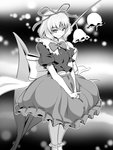1girl >:) breasts bubble_skirt commentary_request flower frilled_legwear frilled_shirt_collar frilled_skirt frilled_sleeves frills highres huge_bow kakone leaf lily_of_the_valley looking_at_viewer medicine_melancholy medium_breasts monochrome puffy_short_sleeves puffy_sleeves ribbon short_sleeves skirt smile touhou tsurime