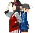 2girls adjusting_clothes adjusting_hat artoria_pendragon_(all) baseball_cap black_hair blonde_hair blue_eyes buster_shirt fate/grand_order fate_(series) grin hand_in_pocket hat headphones headphones_around_neck jacket long_hair looking_at_viewer multiple_girls mysterious_heroine_x oda_nobunaga_(swimsuit_berserker)_(fate) pako peaked_cap ponytail red_eyes scarf short_shorts shorts skirt smile track_jacket white_background