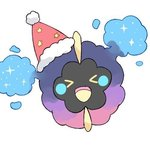 >_< blush_stickers closed_eyes cosmog full_body fur_trim gen_7_pokemon happy hat jpeg_artifacts lowres mei_(maysroom) no_humans open_mouth pokemon pokemon_(anime) pokemon_(creature) pokemon_sm_(anime) red_hat santa_hat simple_background sketch smile solo star white_background