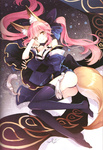 1girl animal_ears ass bare_shoulders black_legwear breasts cleavage detached_sleeves face fate/extra fate_(series) fox_ears fox_tail japanese_clothes medium_breasts pink_hair scan solo tail tamamo_(fate)_(all) tamamo_no_mae_(fate) tearfish thighhighs yellow_eyes