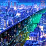 arsenixc bridge building city city_lights cityscape commentary_request copyright_name dark dome ground_vehicle lamppost neon_lights night no_humans road scenery science_fiction shinning_nikki sign skyscraper steam street train