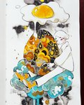 1girl closed_eyes cloud commentary egg egg_yolk expressionless eyebrows_visible_through_hair food full_body highres long_sleeves maruti_bitamin original oversized_food oversized_object pants shirt shoes short_hair sitting solo sunny_side_up_egg traditional_media watercolor_(medium) white_hair white_pants white_shirt yellow_footwear