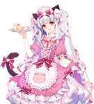 animal_ears bangs bow cake cat_ears cat_tail commission cup dress food frilled_dress frills hairband lolita_fashion lolita_hairband long_hair looking_at_viewer maid maid_headdress open_mouth original pink_eyes runastark skirt_hold smile tail tail_bow teacup twintails white_hair