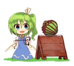 1girl :d bdsm blue_dress blue_eyes bondage bound cabbage chibi commentary daiyousei dress fairy_wings full_body green_hair hair_ribbon holding holding_whip kuresento neck_ribbon open_mouth ribbon shibari short_sleeves side_ponytail simple_background sleeveless sleeveless_dress smile solo standing touhou whip white_background wings yellow_ribbon