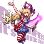 1girl american_flag_legwear american_flag_shirt blonde_hair clownpiece commentary english fairy_wings hat jester_cap long_hair miata_(pixiv) open_mouth outstretched_arm pantyhose print_dress red_eyes smile solo standing_on_one_leg torch touhou very_long_hair wings