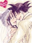 1boy 1girl black_hair bridal_veil character_name chi-chi_(dragon_ball) closed_eyes couple dragon_ball dress forehead-to-forehead formal happy heart hetero open_mouth short_hair simple_background smile son_gokuu spiked_hair tied_hair veil wedding_dress white_background