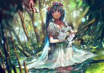 1girl absurdres aqua_eyes aqua_hair bangs blurry bokeh bouquet branch butterfly crying depth_of_field dress dutch_angle flower hair_between_eyes hatsune_miku head_wreath highres holding jewelry jungle lily_(flower) lily_pad long_hair looking_at_viewer nature necklace open_mouth outdoors parted_bangs partially_submerged pendant pink_rose plant pond puffy_short_sleeves puffy_sleeves ripples rose sad see-through short_sleeves solo swamp tears tree tsukun112 twintails very_long_hair vocaloid wading water wedding_dress wet wet_clothes wet_hair white_dress white_rose wreath yellow_rose