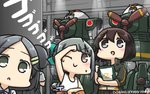 3girls >:) around_corner black_eyes black_hair blush brown_eyes brown_hair commentary dated eyebrows_visible_through_hair from_behind g_gundam grey_hair gundam hair_ornament hairpin hamu_koutarou hayasui_(kantai_collection) highres kantai_collection kuroshio_(kantai_collection) mecha mobile_suit_gundam multiple_girls nether_gundam one_eye_closed open_mouth ponytail short_hair smile sparkle translated v-shaped_eyebrows yuubari_(kantai_collection)
