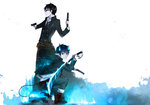 2boys ao_no_exorcist belt black_hair blue_eyes blue_fire boots brothers coat collared_shirt demon_boy demon_tail dual_wielding fang finger_on_trigger fire flaming_sword glasses glowing gun handgun highres holding loose_necktie multiple_boys necktie okumura_rin okumura_yukio pants pointy_ears red_pupils sakegawa serious sharp_teeth sheath shirt siblings smile squatting standing sword tail tail-tip_fire teeth trench_coat untucked_shirt wallpaper weapon wrist_cuffs