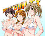 3girls :d ;) >:) bare_shoulders bikini black_hair blush breasts brown_eyes brown_hair cleavage commentary_request earrings hair_ornament hair_scrunchie hori_yuuko idolmaster idolmaster_cinderella_girls jewelry katagiri_sanae large_breasts long_hair looking_at_viewer low_twintails multiple_girls oikawa_shizuku one_eye_closed open_mouth ponytail scrunchie short_hair short_twintails smile suzutsuki_kurara sweat swimsuit twintails waving white_bikini