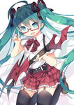 1girl :d ahoge aqua_eyes aqua_hair belt black_legwear bow fang garter_straps glasses guitar hair_ribbon hatsune_miku highres instrument long_hair open_mouth plaid plaid_bow plaid_skirt plectrum red-framed_glasses ribbon saru semi-rimless_glasses skirt smile solo thighhighs twintails under-rim_glasses very_long_hair vocaloid