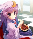 15_(tooka) 1girl bad_id blush bow checkered checkered_floor chopsticks crescent eating food hair_bow hat long_hair looking_at_viewer patchouli_knowledge purple_eyes purple_hair rice solo touhou