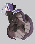 1girl beaver_(artist) black_dress black_legwear blue_hair blush bow capelet dress hair_bow highres len long_dress looking_back melty_blood panties panties_under_pantyhose pantyhose pointy_ears red_eyes solo thighband_pantyhose tsukihime underwear upskirt