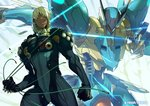 1boy blue_eyes claws dingo_egret highres jehuty kotatsu_(g-rough) looking_at_viewer mecha pilot_suit silver_hair zone_of_the_enders_2