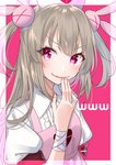 1girl armband brown_hair bunny_hair_ornament collared_shirt eyelashes fang fingernails hair_ornament hand_up haruyuki_14 hat heart highres long_hair looking_at_viewer natori_sana nurse_cap parted_lips puffy_short_sleeves puffy_sleeves purple_apron red_eyes sana_channel shirt short_sleeves smile smirk solo transparent two-tone_background two_side_up upper_body v-shaped_eyebrows virtual_youtuber white_shirt