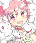 1girl :3 bangs choker fluffy frilled_gloves frilled_sleeves frills gloves hair_ribbon highres hitode kaname_madoka kyubey magical_girl mahou_shoujo_madoka_magica one_eye_closed open_mouth pink_eyes pink_hair pink_ribbon puffy_short_sleeves puffy_sleeves ribbon short_hair short_sleeves short_twintails swept_bangs twintails upper_body wavy_mouth white_gloves