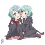 2girls :o alternate_hair_length alternate_hairstyle animal_hood aqua_hair artist_name bang_dream! blush book can_to_cheek cat_hood cat_tail commentary_request cosplay far_is_a green_eyes highres hikawa_hina hikawa_sayo holding holding_book hood hood_down kigurumi knees_up long_sleeves looking_at_another multiple_girls open_book short_hair siblings signature sisters sitting tail twins twitter_username v-shaped_eyebrows white_background