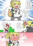 ... 1boy 1girl apron blonde_hair blush blush_stickers bowsette bracelet brown_hair collar comic commentary crown dress earrings english engrish eyebrows_visible_through_hair faceless facial_hair full-face_blush hat horns jewelry maid maid_apron maid_dress maid_headdress mario mario_(series) mustache new_super_mario_bros._u_deluxe pantyhose ponytail puffy_sleeves ranguage red_shirt sesield sharp_teeth shirt spiked_tail super_crown sweatdrop teeth thai turtle_shell