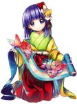 1girl eyebrows_visible_through_hair flower forbidden_scrollery full_body hair_flower hair_ornament harukawa_moe head_tilt hieda_no_akyuu highres holding holding_scroll japanese_clothes kimono kneeling looking_at_viewer medium_hair obi official_art purple_eyes purple_hair sash scroll sitting smile solo touhou transparent_background
