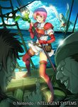 1girl 2boys boots breastplate cloud daigoman day dress elbow_gloves facial_scar fingerless_gloves fire_emblem fire_emblem:_souen_no_kiseki gloves grin holding holding_spear holding_weapon index_finger_raised marcia multiple_boys ocean open_mouth outdoors pegasus pegasus_knight pink_hair polearm red_footwear red_gloves scar scar_on_cheek short_dress short_hair short_sleeves shoulder_armor smile spaulders spear sweatdrop thigh_boots thighhighs weapon white_dress zettai_ryouiki