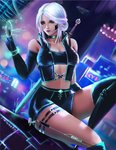 1girl artist_request breasts cd_projekt_red ciri company_connection cyberpunk cyberpunk_2077 fantasy freckles green_eyes highres jewelry lips long_hair looking_at_viewer medium_breasts scar short_hair shorts silver_hair solo the_witcher the_witcher_3